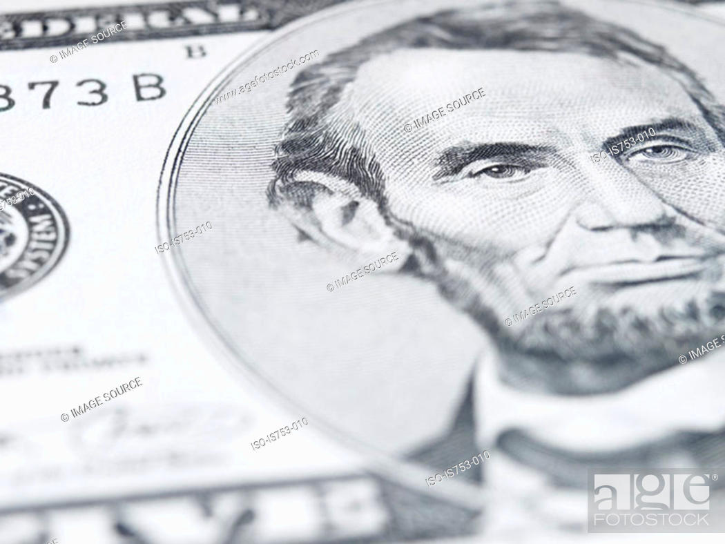 Stock Photo: Close up of a five dollar note.