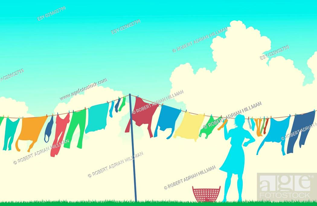 Vector: Editable vector silhouette of a woman hanging clothes on a washing line.