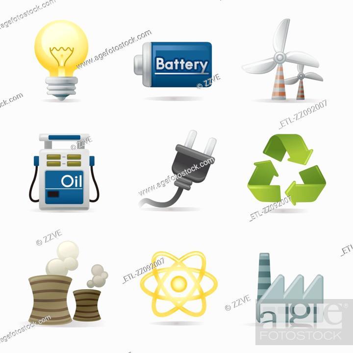 Stock Photo: Power and energy icon set.