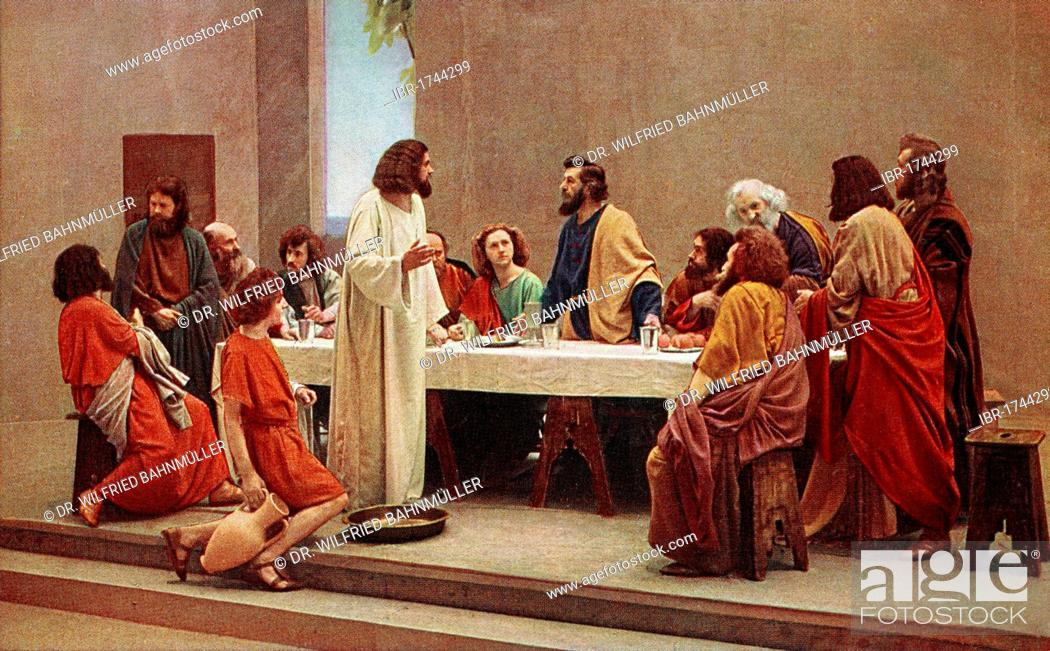 Imagen: Last Supper, colour post card from a Uvatypie template, Oberammergau Passion Play 1930, Upper Bavaria, Bavaria, Germany, Europe.