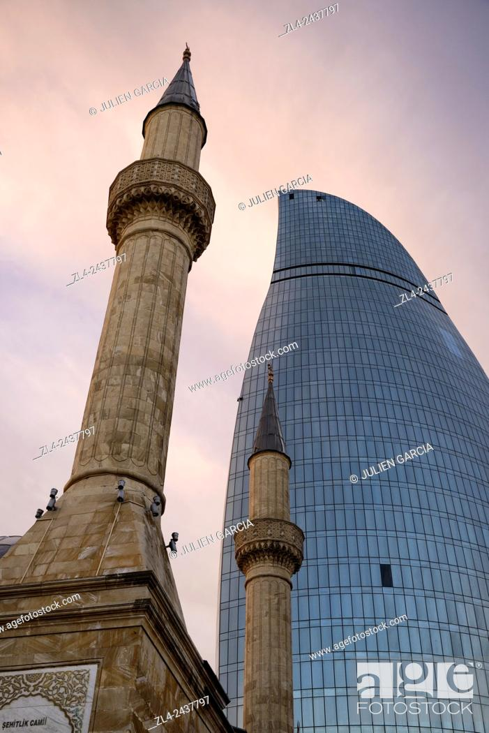 Stock Photo: Azerbaijan, Baku, Martyrs' Lane (Alley of Martyrs), small mosque and the Flame Towers.