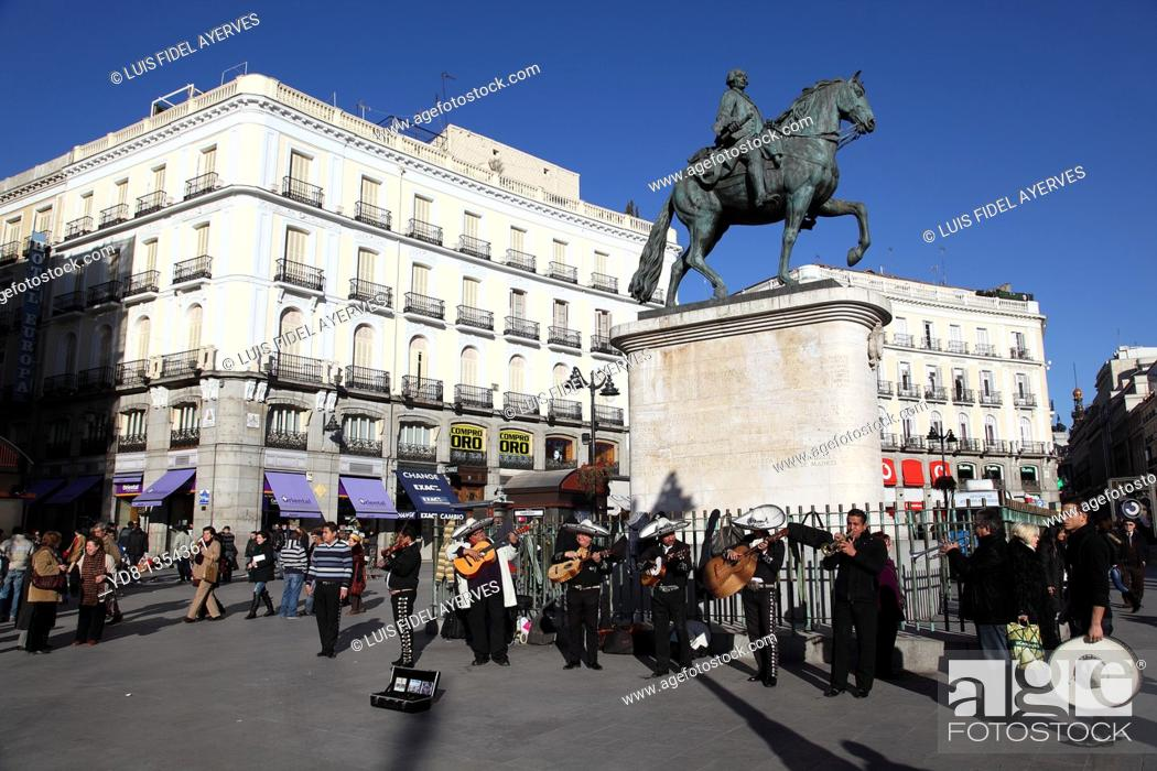 Stock Photo: Monument to Carlos III, Puerta del Sol Madrid, Spain.