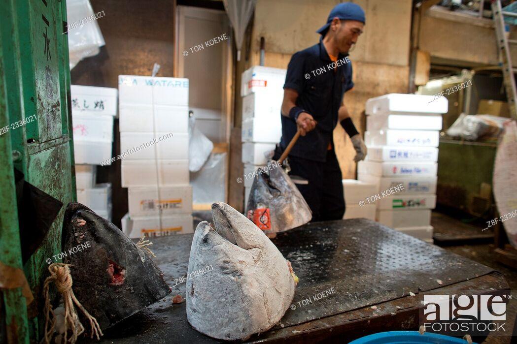 Stock Photo: fish market in Tsukiji, Tokyo.