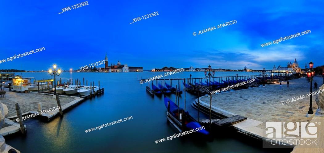 Stock Photo: Panoramic Night in Venice, Italy.
