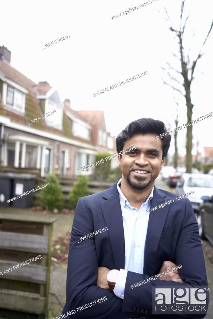 Stock Photo: Indian business man in Leeuwarden, Friesland, Netherlands, Europe.