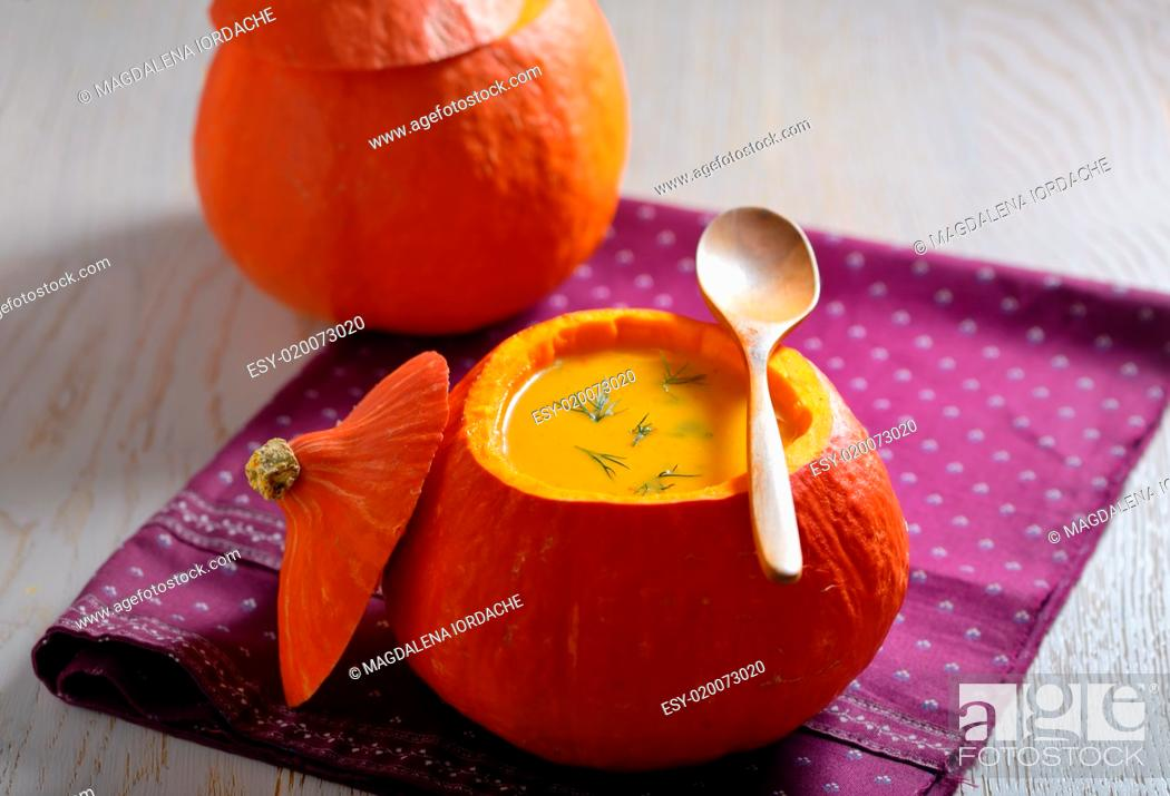 Stock Photo: soup with cream in pumpkin.
