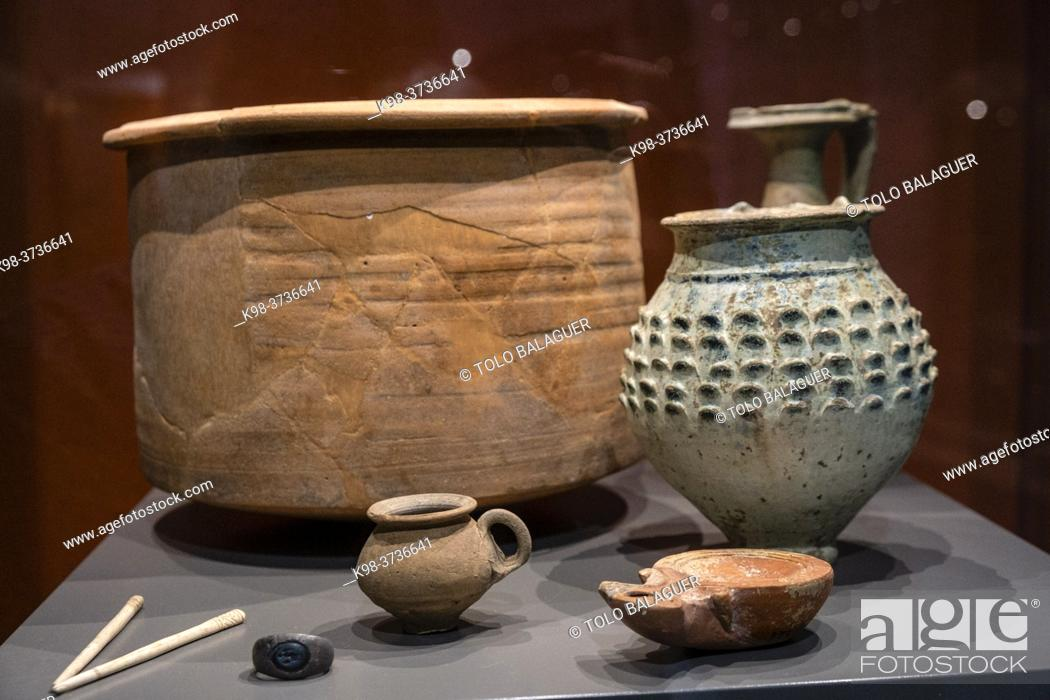 Stock Photo: funerary equipment, Monographic Museum of Pollentia, Alcudia, Mallorca, Balearic Islands, Spain.