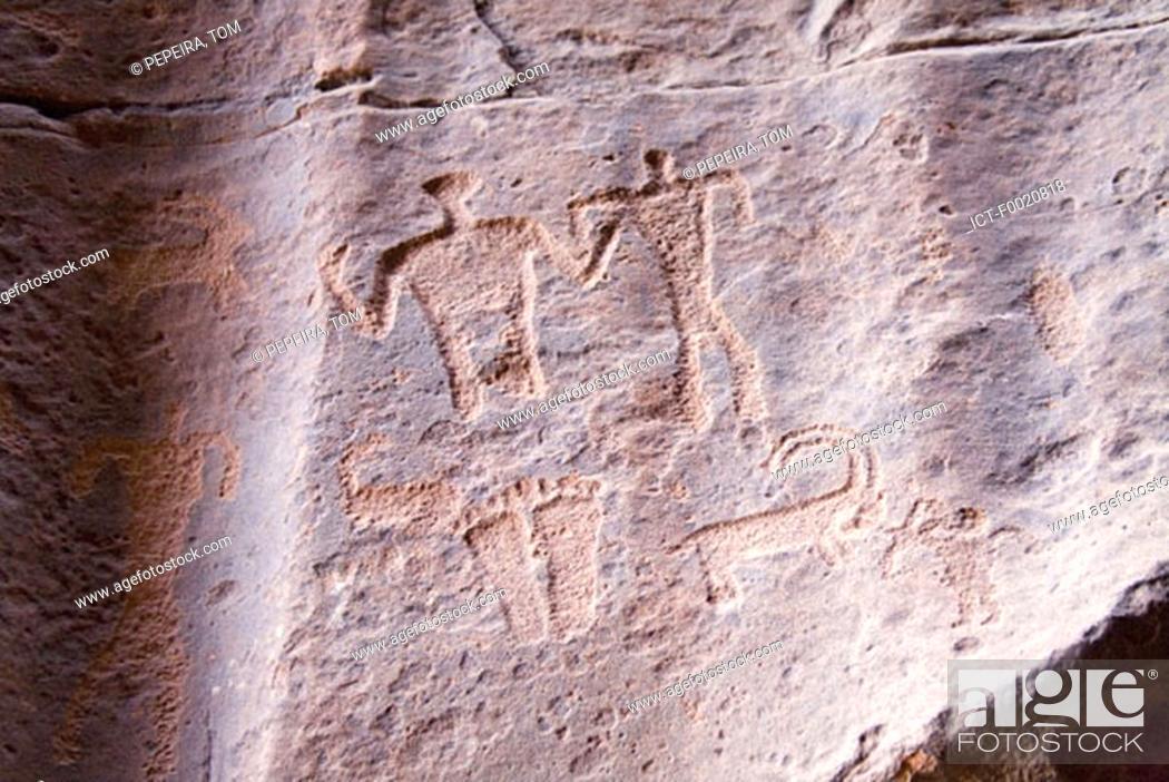 Stock Photo: Jordan, Wadi Rum, neolithic engraving.