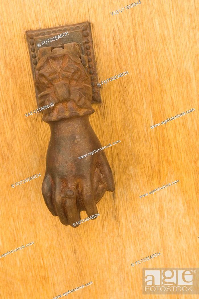 Stock Photo: Close-Up, Day, Door, Door Knocker, Handle.