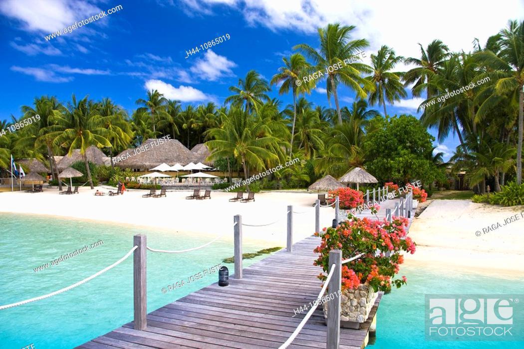 Stock Photo: Tahiti, Society Islands, Bora Bora Island, Matira, Pier of the Intercontinental Resort.