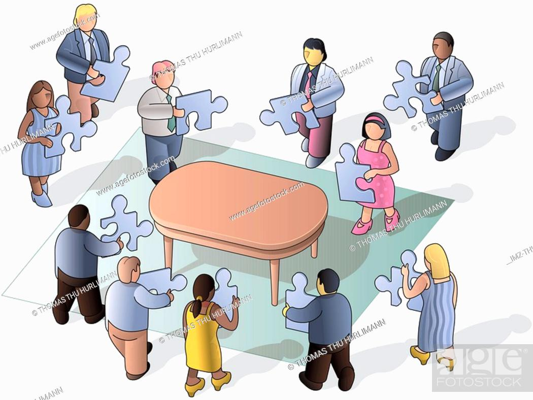 Stock Photo: People putting a puzzle together on a table.