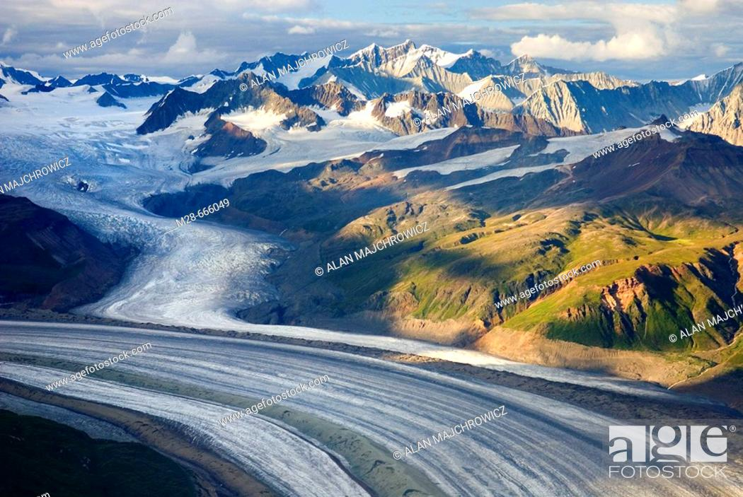 Stock Photo: Aerial view of the Rohn Glacier flowing out of the Wrangell Mountains, Wrangell-St. Elias National Park, Alaska, USA.