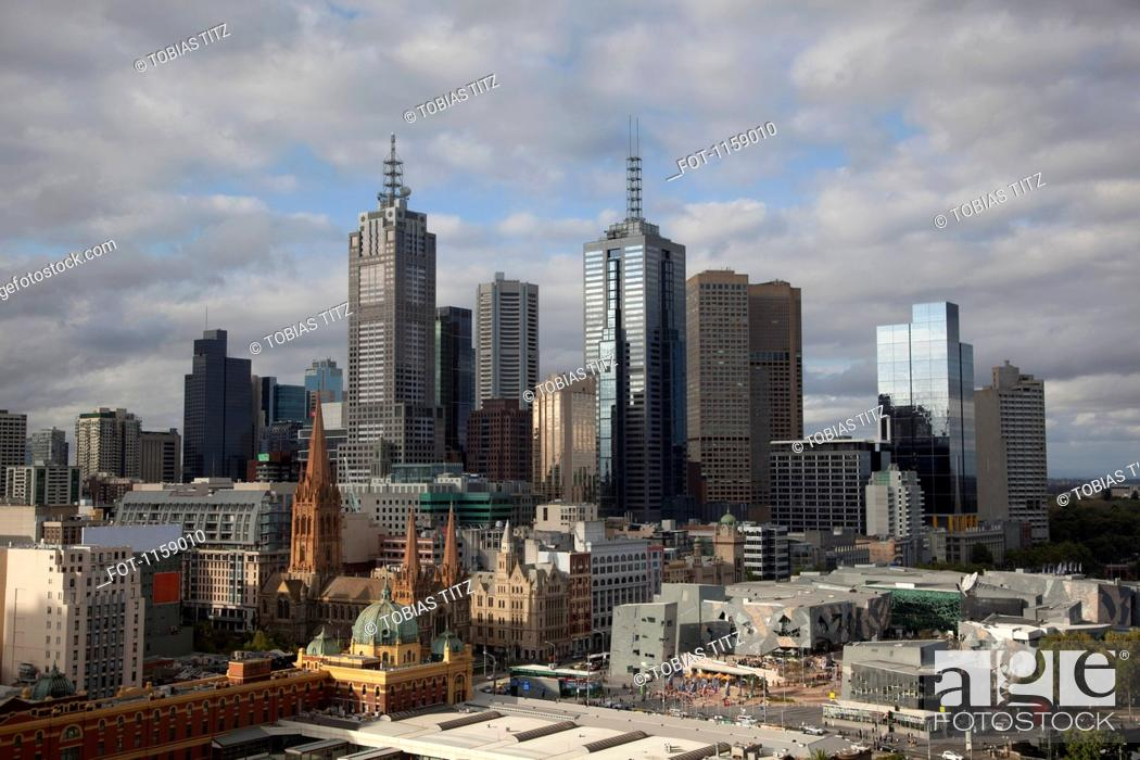 Stock Photo: Skyline of Melbourne financial district.