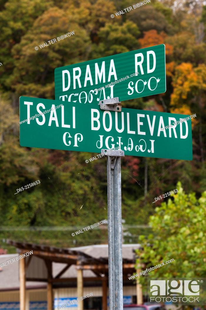 Stock Photo: USA, North Carolina, Cherokee, Cherokee Indian Reservation, street signs in Cherokee and English.