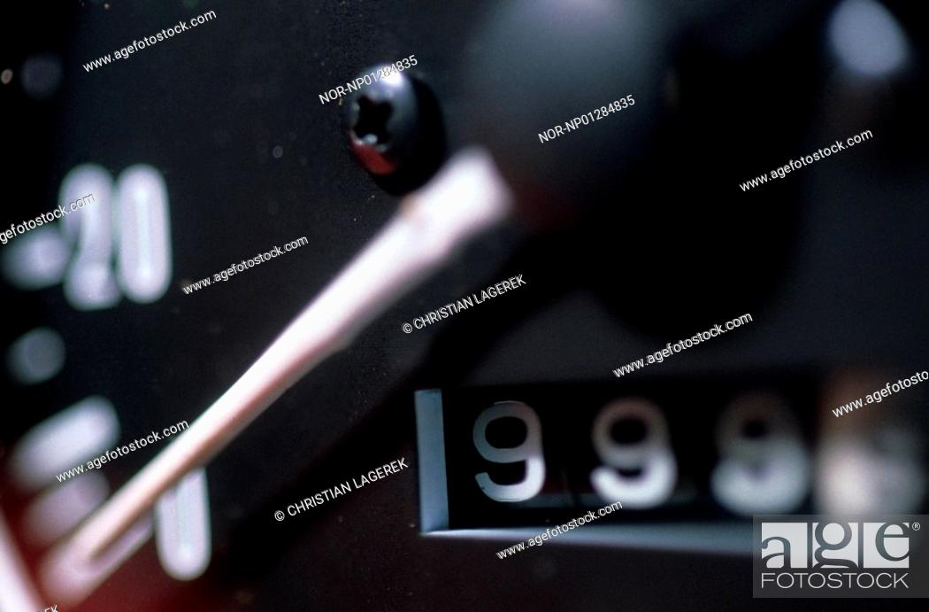 Stock Photo: Close-up of a speedometer.