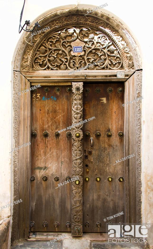 Stock Photo: wooden doors in Zanzibar.