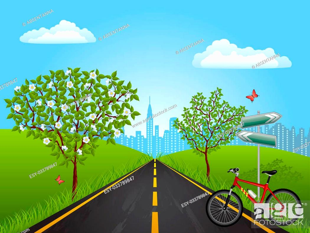 Stock Photo: Summer landscape with a bike. Vector illustration.