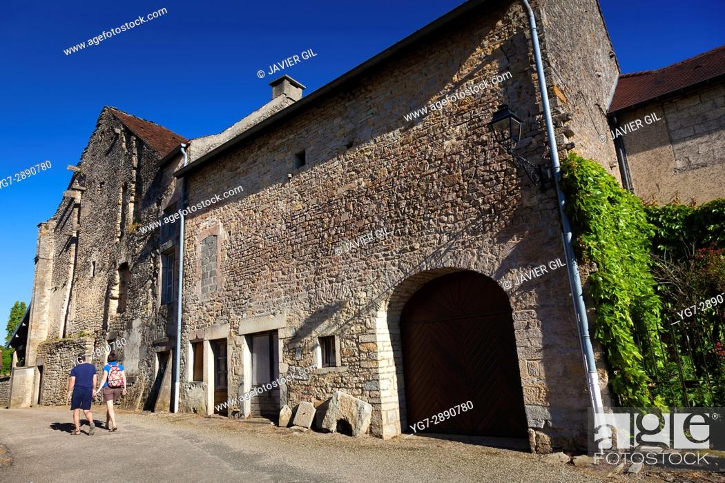 Stock Photo: Chateau-Chalon, Jura, Bourgogne-Franche-Comte, France.