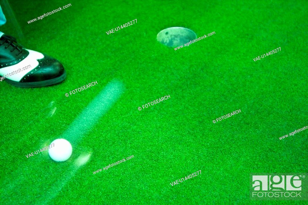 Stock Photo: hole, leisure, ball, putter, club, sports.