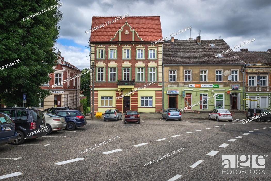 Stock Photo: Townhouses on a main square in Cedynia town, West Pomerania Province in Poland.