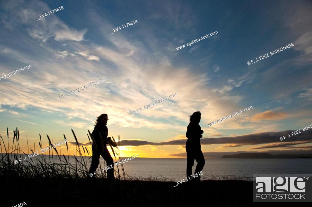 Stock Photo: Explorers at Oxarfjordur  North Iceland.