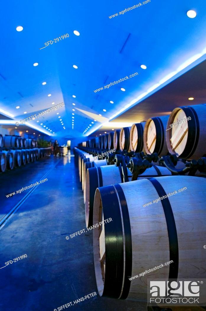 Stock Photo: Blue lit barrique chai, Château Lascombes, Grand Cru Classé, Margaux, FR.