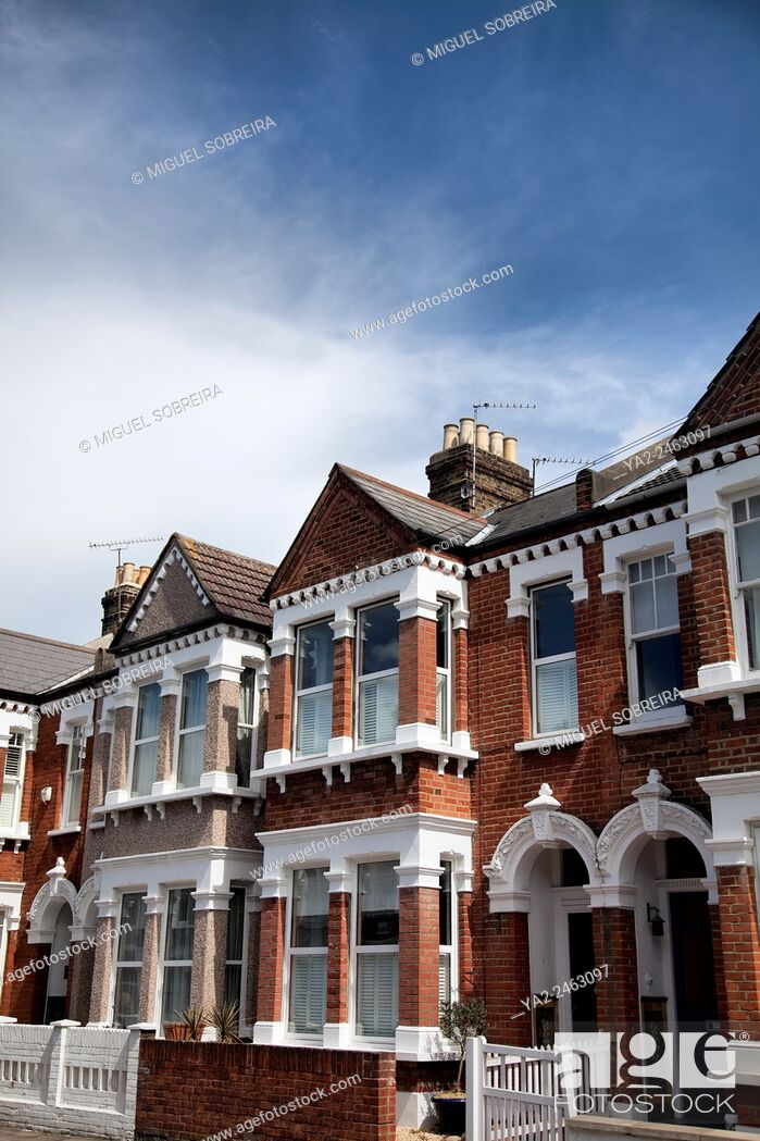 Stock Photo: Battersea Terraced Houses - London SW11 - UK.