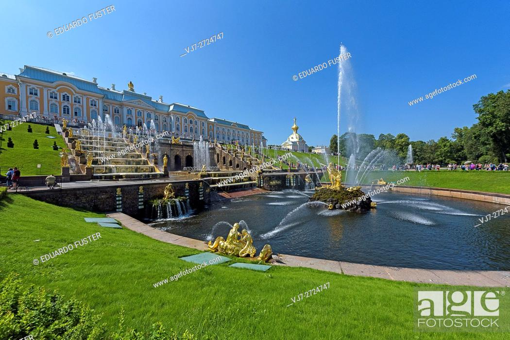 Stock Photo: Samson fountain in Peterhof Palace (St Petersburg).