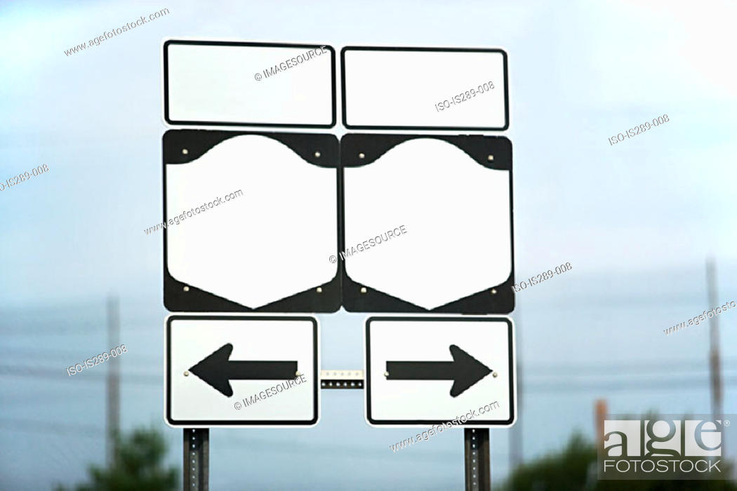 Stock Photo: Blank highway signs.