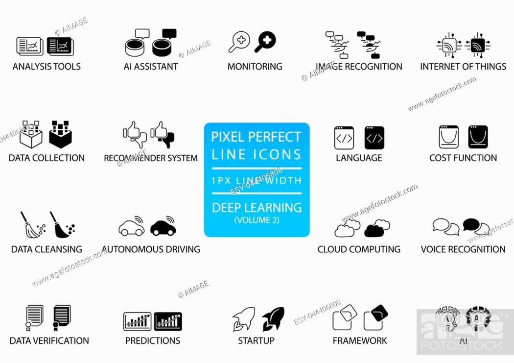 Stock Vector: Pixel perfect thin line icons and symbols for deep learning.