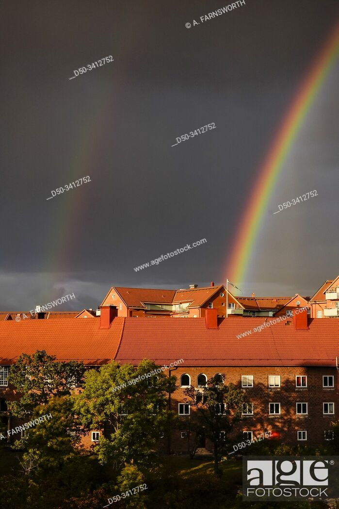 Stock Photo: Stockholm, Sweden A rainbow over Stockholm.