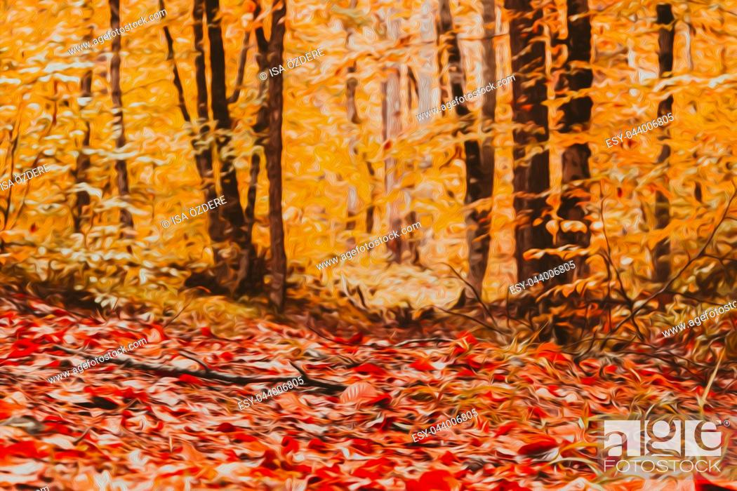 Imagen: Soft view of Autumn landscape,trees around and dry leaves on the ground. Digital structure of painting. Oil painting effect filter applied.