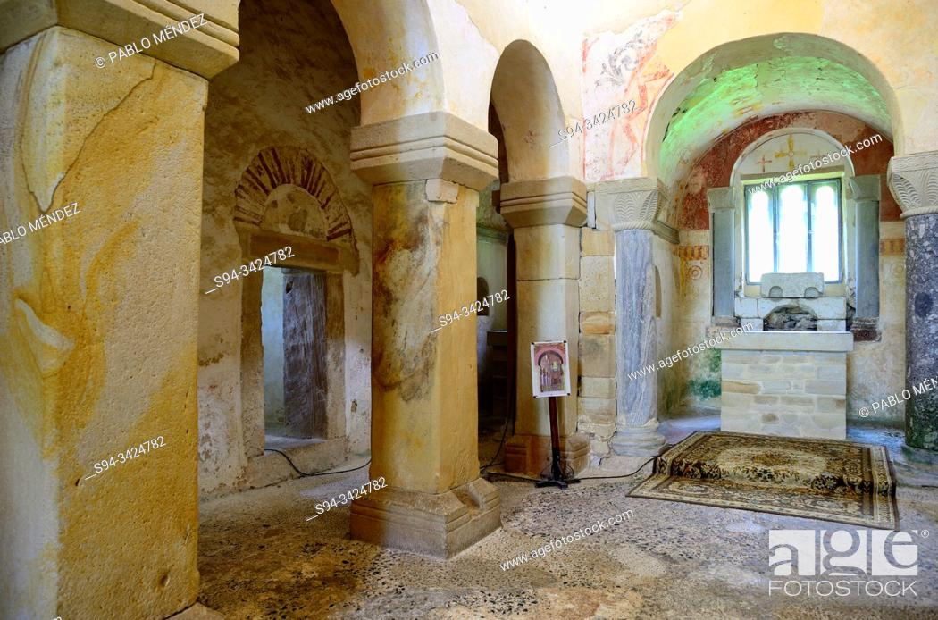 Stock Photo: Interior of the pre-Romanesque church of San Salvador de Valdedios, Asturias, Spain.