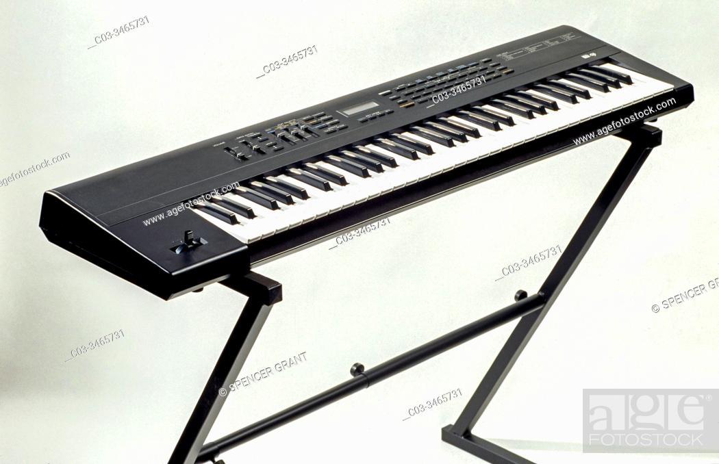 Stock Photo: An electronic keyboard or digital keyboard is an electronic musical instrument, an electronic or digital derivative of keyboard instruments.