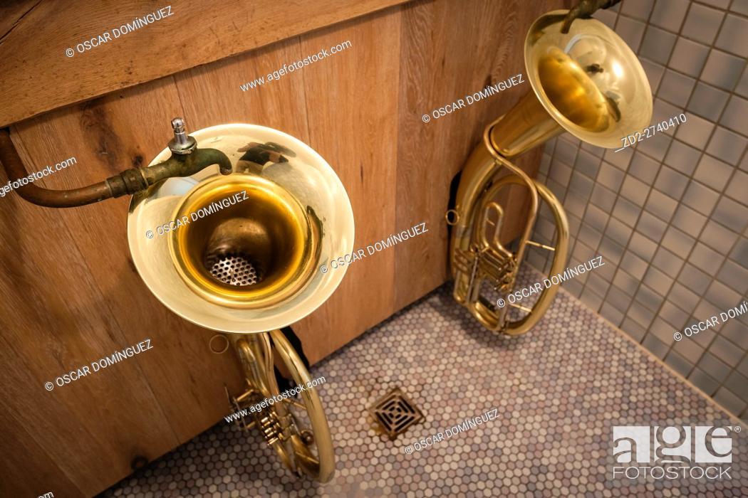 Stock Photo: Gents urinals in Hindenburg Hut. Reit im Winkl. Upper Bavaria. Germany.