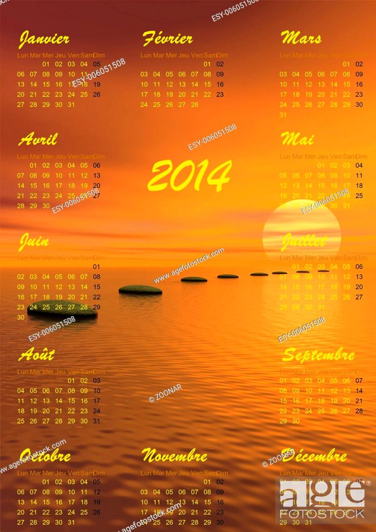 Stock Photo: Meditation 2014 calendar - 3D render.