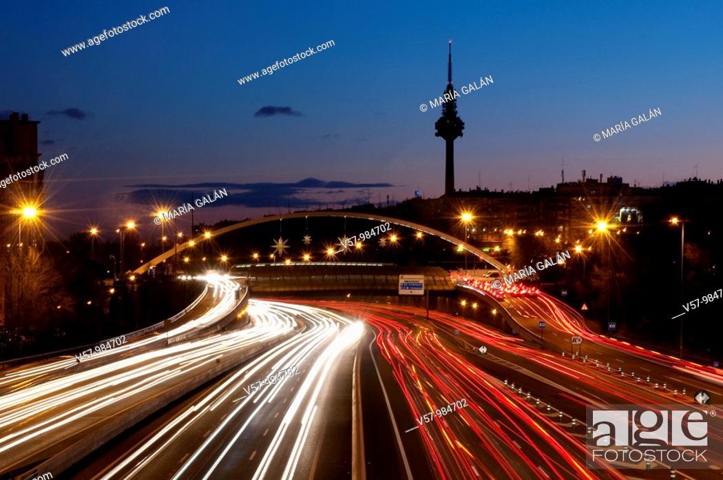 Stock Photo: M-30 motorway, Torrespaña and Ventas bridge, night view. Madrid, Spain.