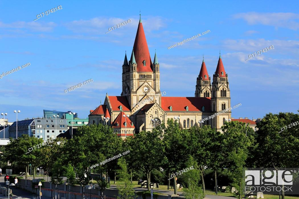 Stock Photo: Austria, A-Vienna, Danube, Federal Capital, Wien-Leopoldstadt, St. Francis of Assisi Church at the Mexico Square, catholic church, Romanesque.