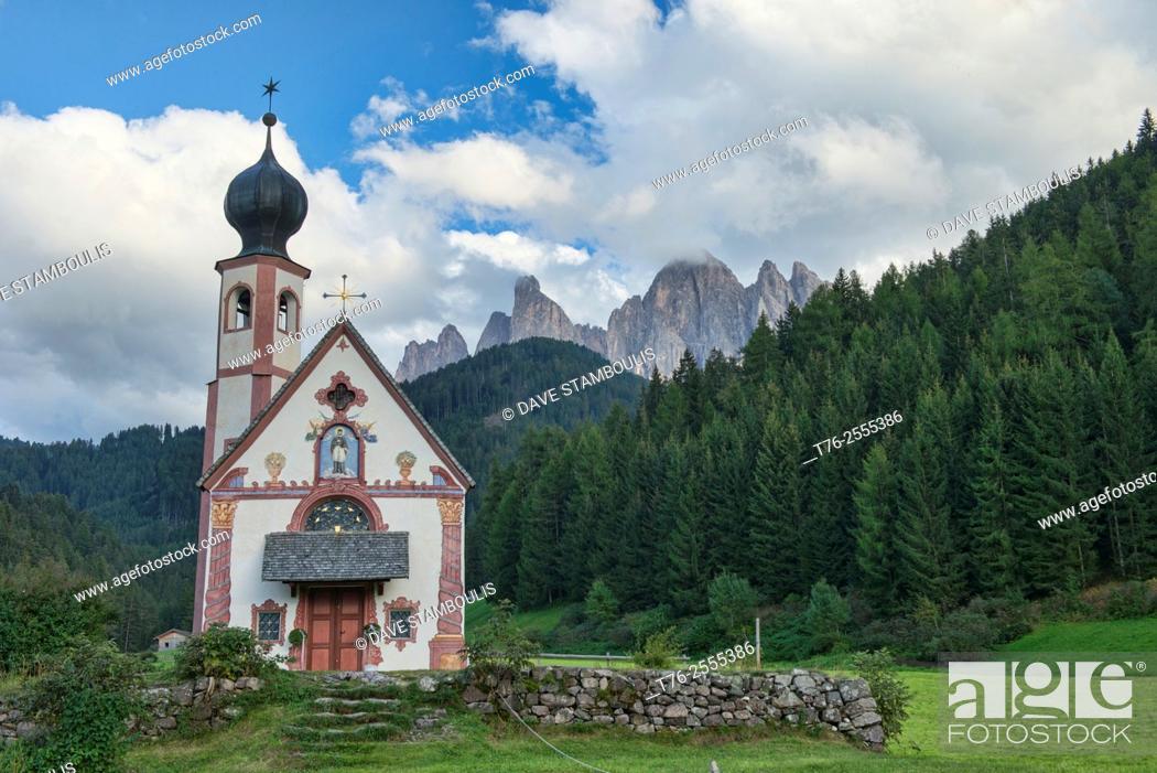 Stock Photo: The Church of St. Johann in Ranui, Val di Funes, Dolomites, South Tirol, Italy.