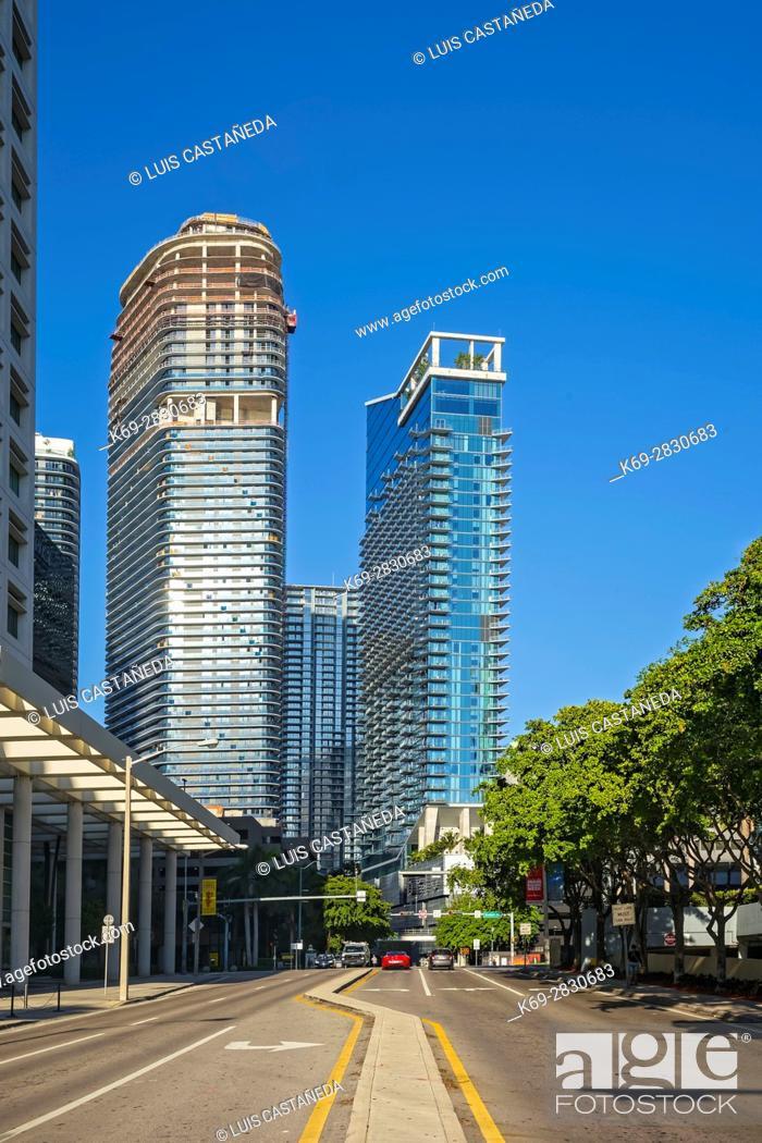 Stock Photo: Brickell Avenue Buildings. Miami. Florida. USA.