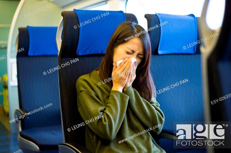 Stock Photo: Woman feeling unwell on train compartment.