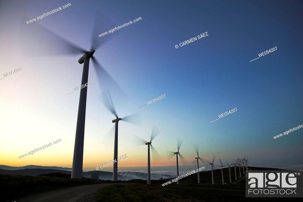Stock Photo: Wind turbines. Lugo province, Galicia, Spain.