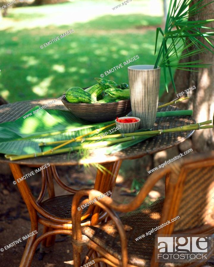 Stock Photo: Outdoor seats - asia-style.