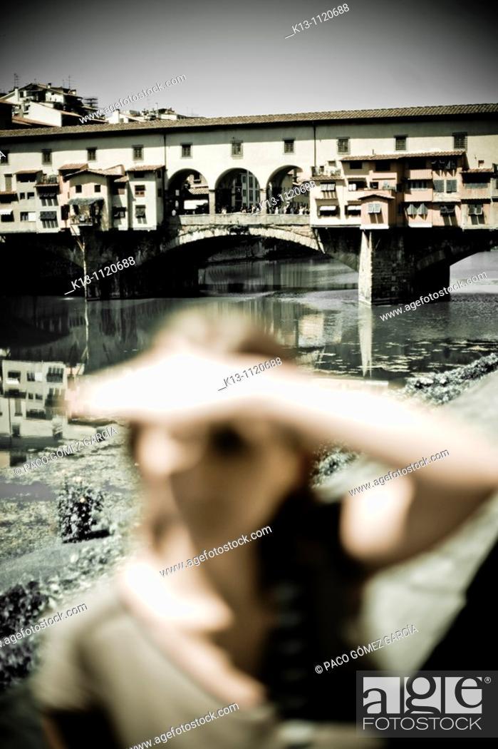 Stock Photo: Ponte Vecchio bridge, Florence, Tuscany, Italy.