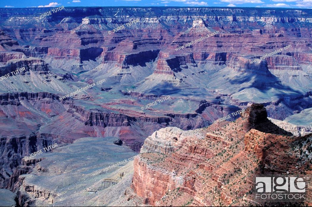 Stock Photo: South Rim. Grand Canyon at sunset. Arizona. Yavapai Point.