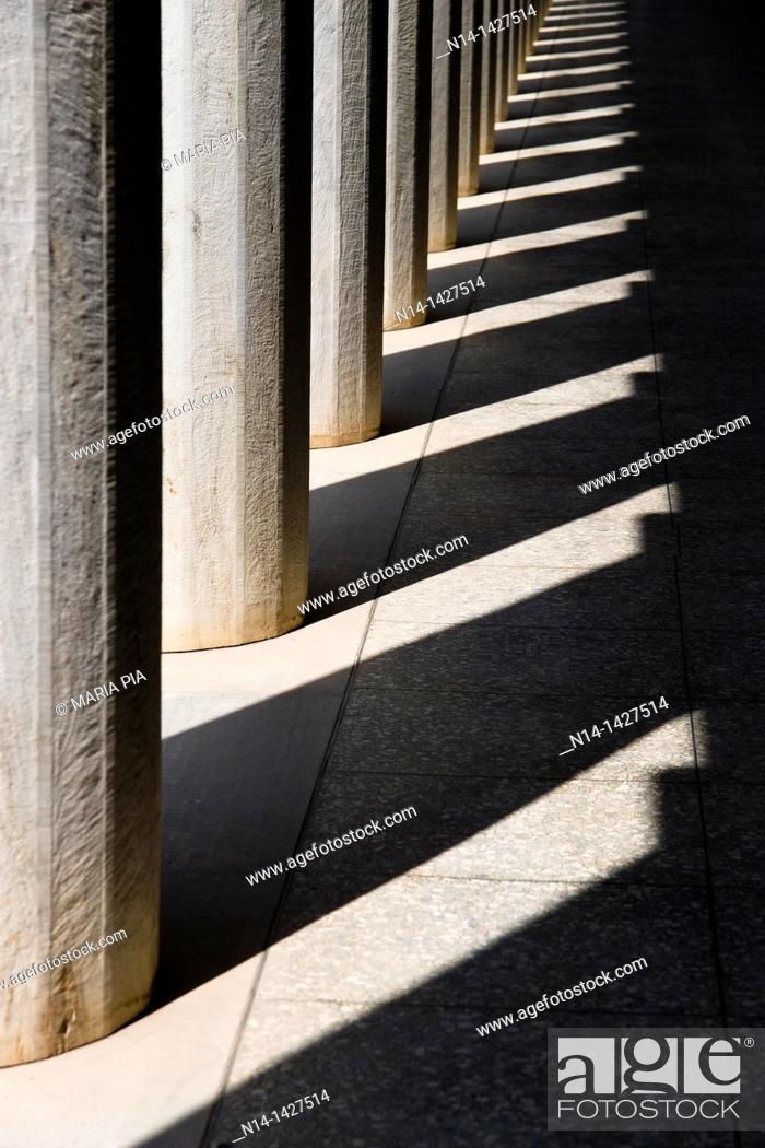 Stock Photo: Stoa of Attalos, Attalus, column's detail, one of the most impressive stoæ in the Athenian Agora, Athens, Greece.