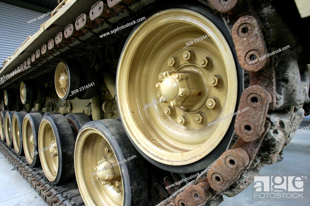 Stock Photo: tank wheels and tracks, at the Norfolk Tank Museum, near Cromer, Norfolk, Britain.