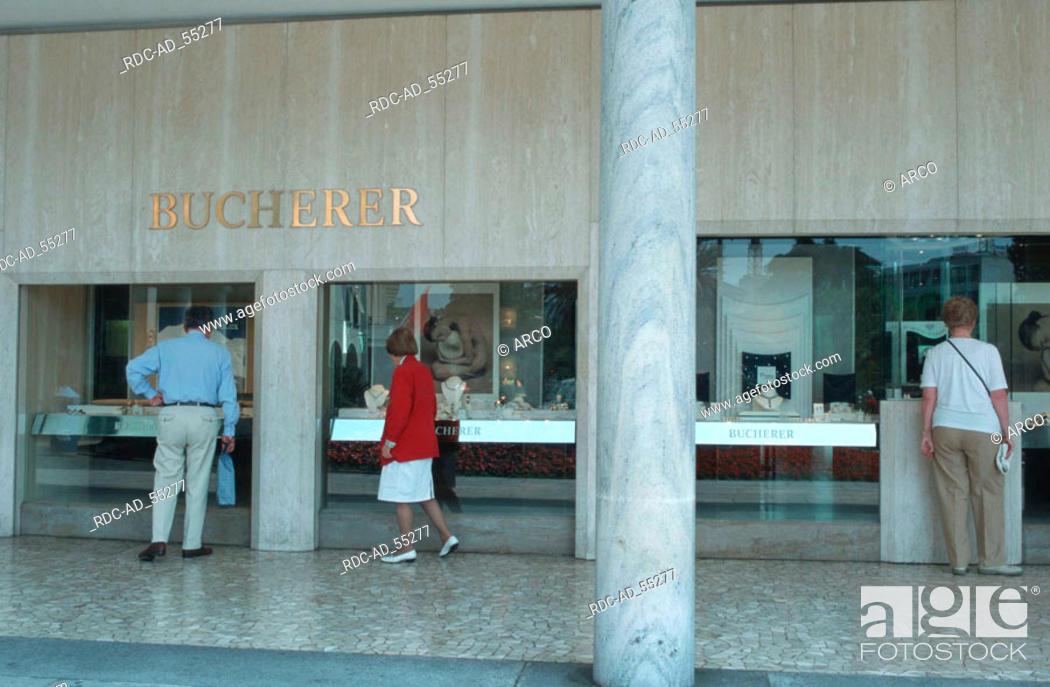 Stock Photo: Jeweller's shop 'Bucherer' Locarno Lago Maggiore Ticino Switzerland.