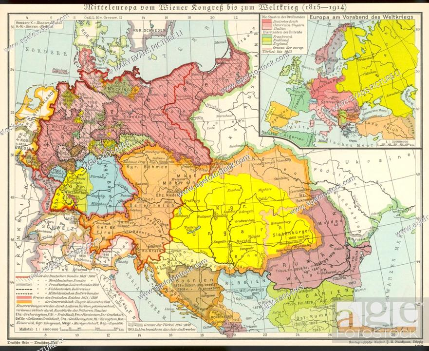 Map Of Middle Europe From After The Vienna Congress Until The Start