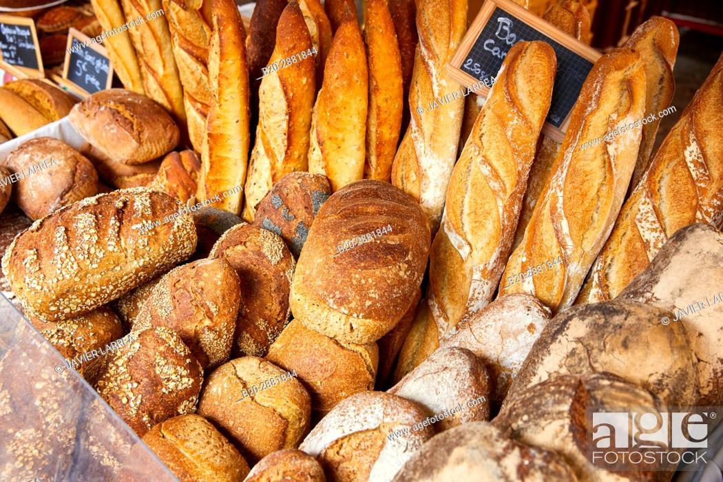 Stock Photo: Artisan bread, Market, Hendaye, Aquitaine, Pyrenees Atlantiques, France.
